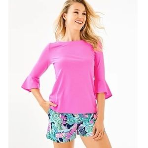LILLY PULITZER   Pink Boatneck Bell Sleeves Top